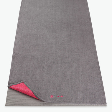 Gaiam Grippy Yoga Mat Towel Grey & Pink