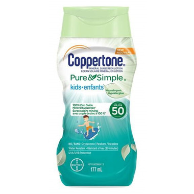 Coppertone Pure & Simple Kids Sunscreen Lotion Hypoallergenic SPF 50
