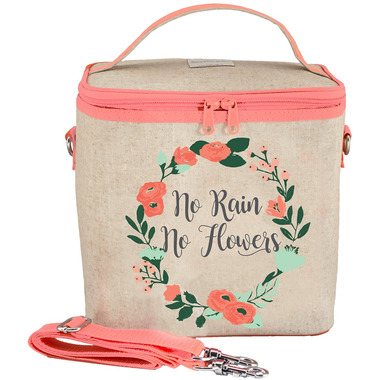 SoYoung Raw Linen No Rain No Flowers Large Cooler Bag