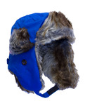 Calikids Water Repellant Nylon Shell & Faux Fur Hat Blue