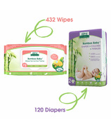 Aleva Naturals Bamboo Size 2 Diaper and Sensitive Wipes Bundle