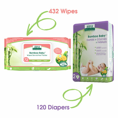 Aleva Naturals Bamboo Size 2 Diaper and Sensitive Wipes Bundle