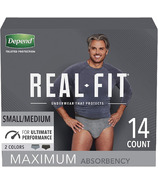 Depend Real Fit Incontinence Underwear for Men Maximum Absorbency S/M