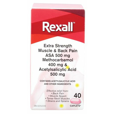 Rexall Extra Strength Muscle And Back Pain Relief with ASA