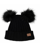 Calikids Cashmere Touch Infant Hat with Pom Poms Black