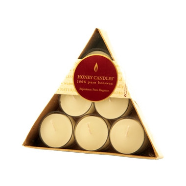 Honey Candles Triangular Gift Pack Tealights Pearl