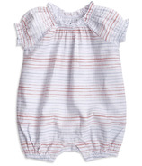 aden + anais Short Sleeve Gathered Romper Tiny Stripe