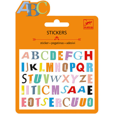 Djeco Mini Stickers Coloured Letters