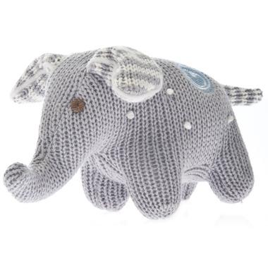 Beba Bean Knit Elephant Rattle Grey Polka Dot