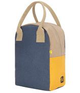 Fluf Zipper Lunch Bag Colour Block Navy Mango