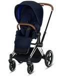 Cybex Priam Chrome Brown Frame with Indigo Blue Seat Pack