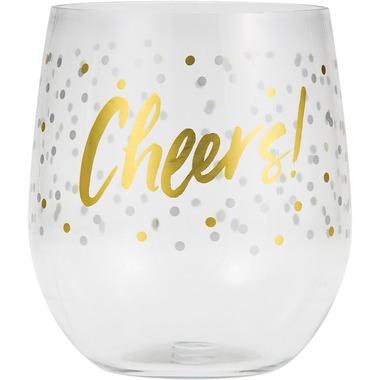 Elise Plastic Stemless Wine Glasses Cheers