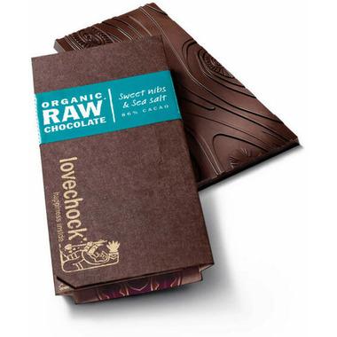 LoveChock Sweet Nibs & Sea Salt Raw Organic Dark Chocolate Tablet