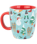 Little Blue House Curved Ceramic Mug Vintage Skis