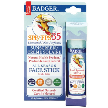 Badger All Season Unscented Face Stick Sunscreen SPF 35