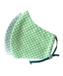 Happy 3-Layer Kid's Organic Cotton Face Masks Aqua Checker & Green Checker