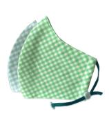 Happy 3-Layer Kid's Organic Cotton Face Masks Aqua Checker & Green Checker
