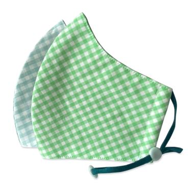 Happy 3-Layer Kid\'s Organic Cotton Face Masks Aqua Checker & Green Checker