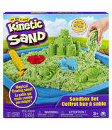 The One & Only Kinetic Sand Sandbox Playset with Green Sand and 3 Molds