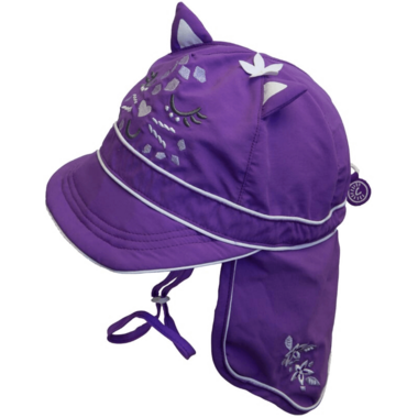 Calikids Long Back Quick-Dry Cap Cat Purple