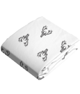 Kushies Bassinet Fitted Sheet Flannel Deer Black & White