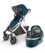 UPPAbaby VISTA V2 Stroller Finn Deep Sea Silver Chestnut Leather