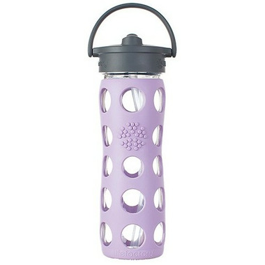 Lifefactory Glass Bottle Lilac Straw Cap & Silicone Sleeve