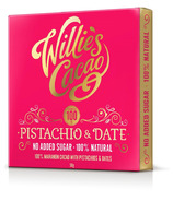 Willies Cacao 100% Pistachio & Date Chocolate Bar