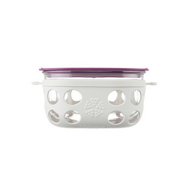 Lifefactory 4 Cup Glass Food Storage in Huckleberry & White
