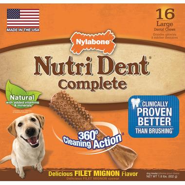 Nutri Dent Complete Dental Chews Filet Mignon Large Size 16 Pack