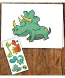 PiCO Temporary Tattoos Dinosaur Card & Tattoos
