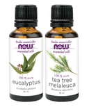NOW Eucalyptus + Tea Tree Essential Oil Set