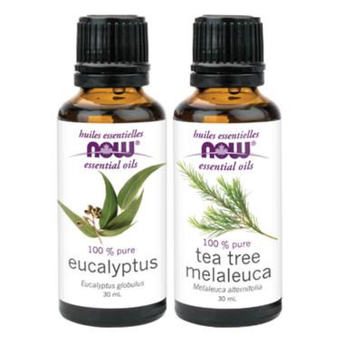NOW Eucalyptus + Tea Tree Essential Oil Set