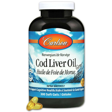 Carlson Cod Liver Oil Gems with Low Vitamin A Lemon Flavour