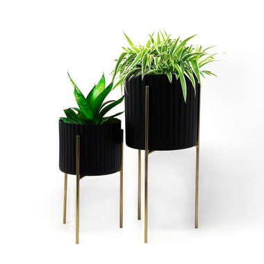 Natural Living Standing Planters Black/Gold