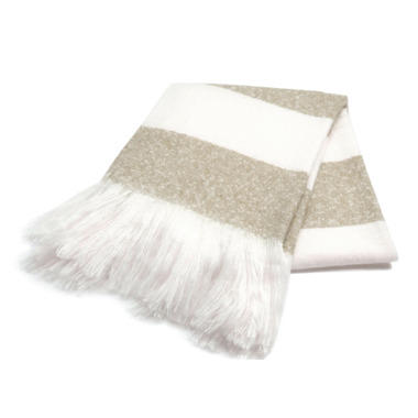 Harman Bold Stripe Faux Mohair Throw Tan