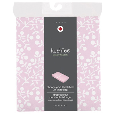 Kushies Flannel Change Pad Fitted Sheet Berries Pink