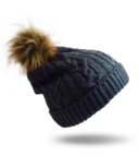 Pudus Hat Grey Cable Knit with Faux Fur Pom Pom