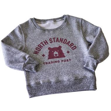 North Standard Trading Post Kids Crew Sweat Speckled Grey & Maroon