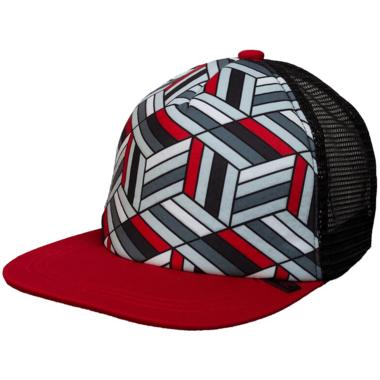Calikids Trucker Hat Mesh Back Black & Red