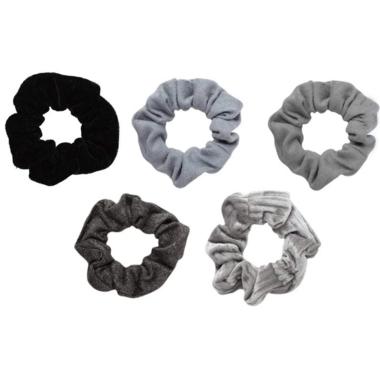 Kitsch Velvet Scrunchies Black & Gray