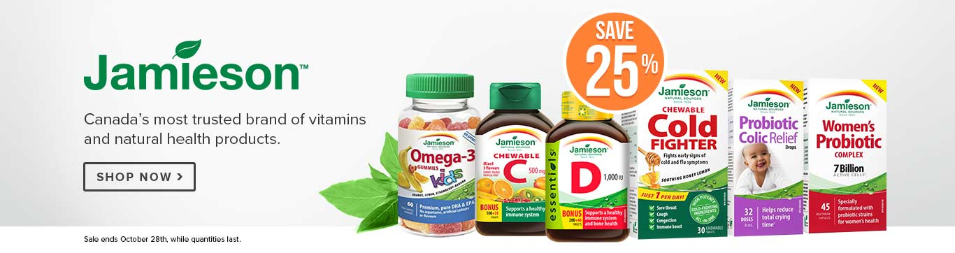 Save 25% on All Jamieson Vitamins & Supplements