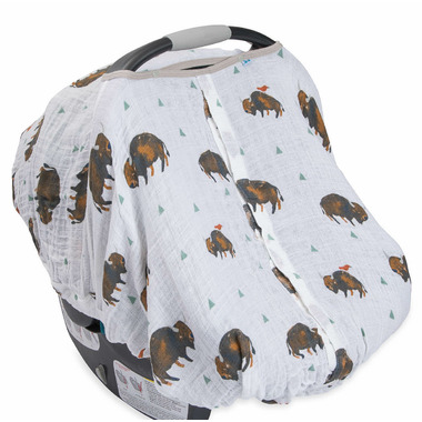 Little Unicorn Cotton Muslin Car Seat Canopy Bison