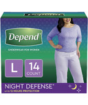 Depend Night Defense Incontinence Underwear for Women Overnight Large