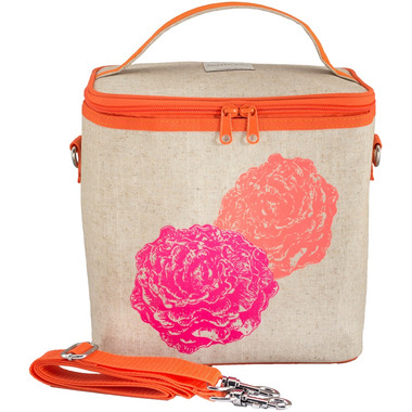 SoYoung Raw Linen Neon Orange & Pink Peonies Large Cooler Bag