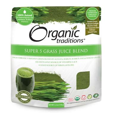 Organic Traditions Super 5 Grass Juice Blend