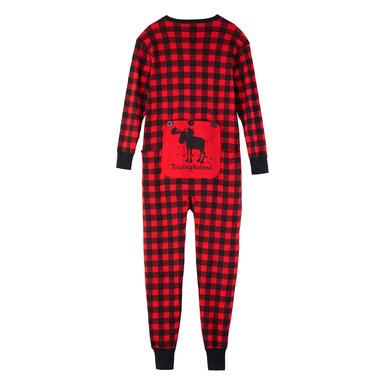 Little Blue House Red Buffalo Plaid Unisex Adult Union Suit