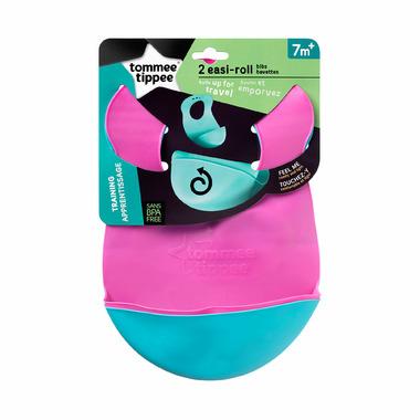"Tommee Tippee Roll \""N\"" Go Bib Pink & Blue"