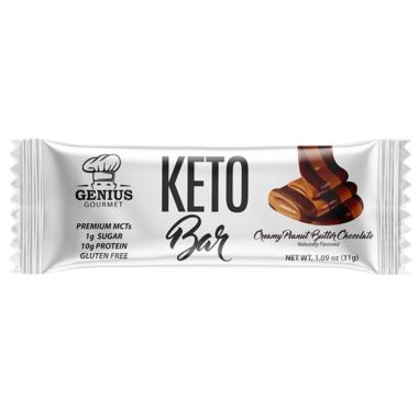 Genius Gourmet Keto Bar Creamy Peanut Butter Chocolate