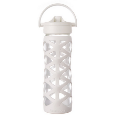 Lifefactory Glass Water Bottle with Axis Straw Cap & White Sleeve